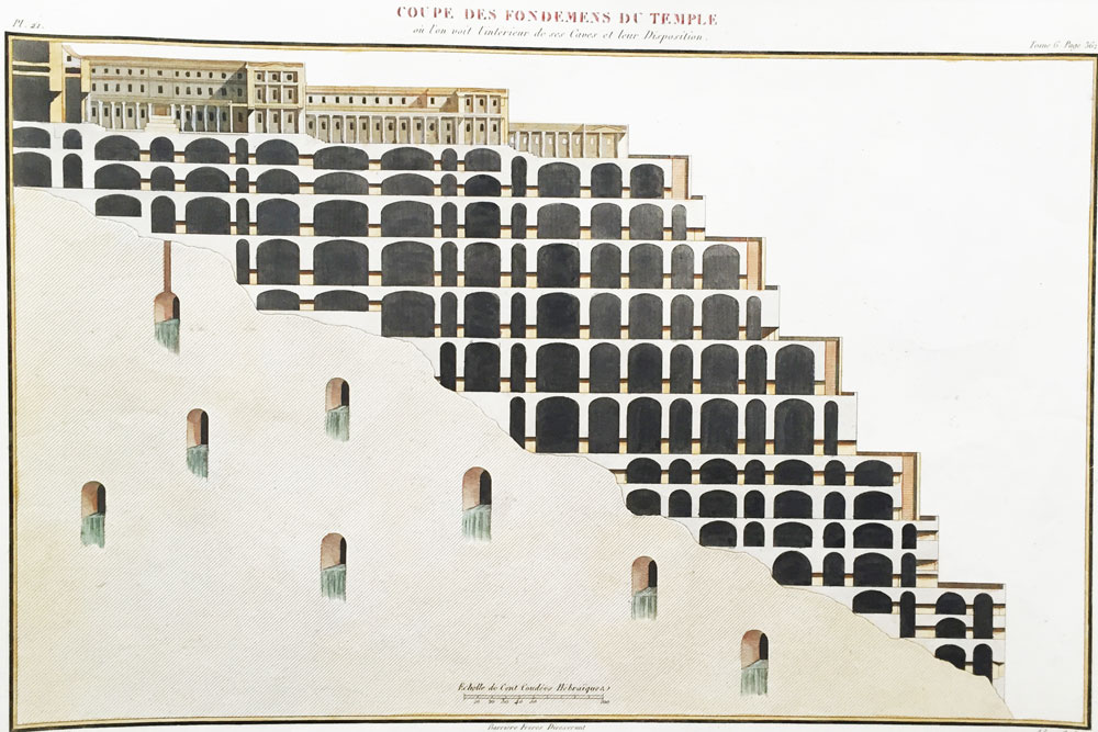 A Cross Section of the Foundations of the Temple where We Can See the Interior of the Caves and their Placement.