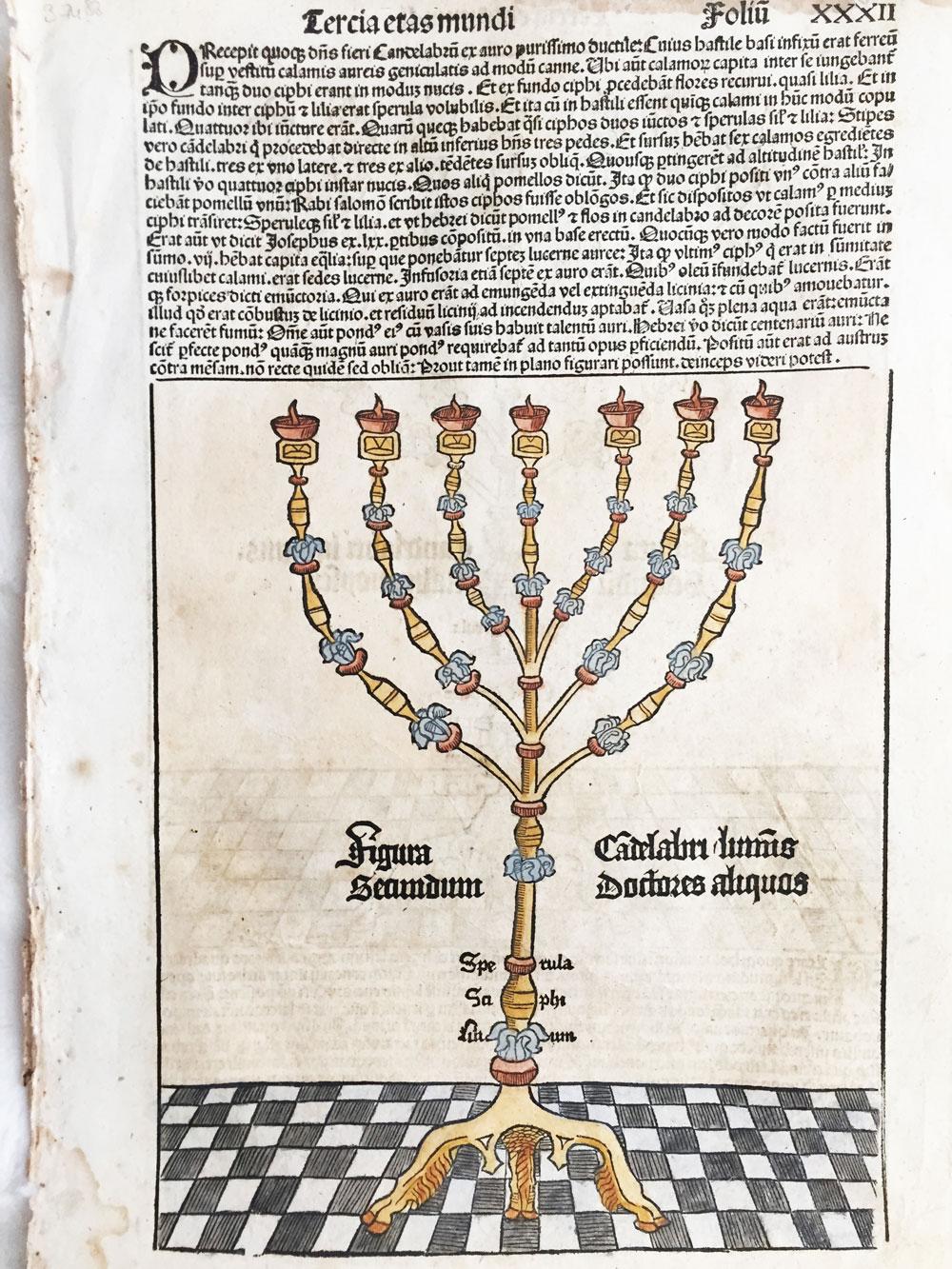 Tercia Etas Mundi. Folium.XXXII (with a a candelabra)