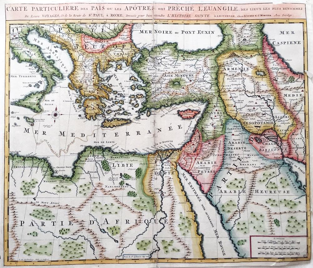 Carte Particuliere des Lieux les Plus Renommez ou les Apotres ont Preche l Euangile et fait Leur Voyages, et de Celui de St. Paul a Rome