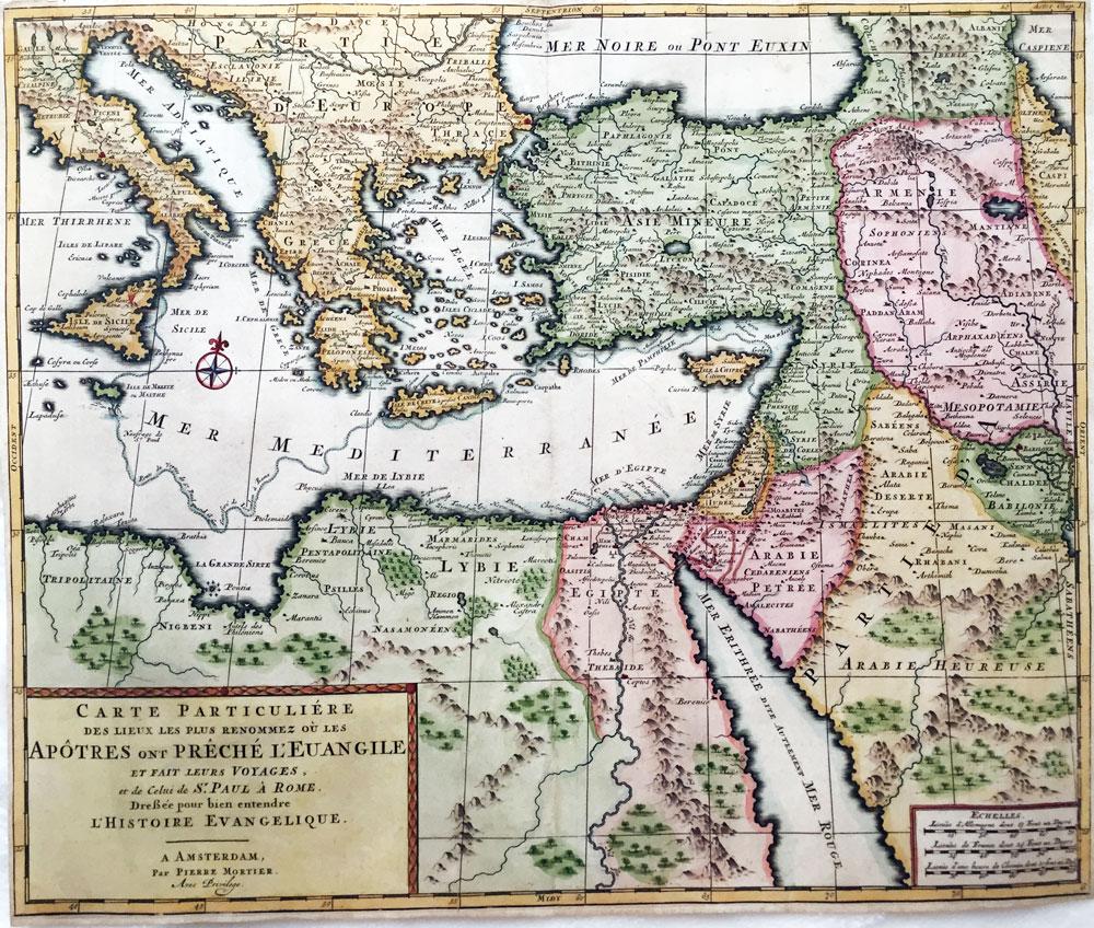 Carte particulière des pays où les Apôtres ont Prêché l'Evangile
