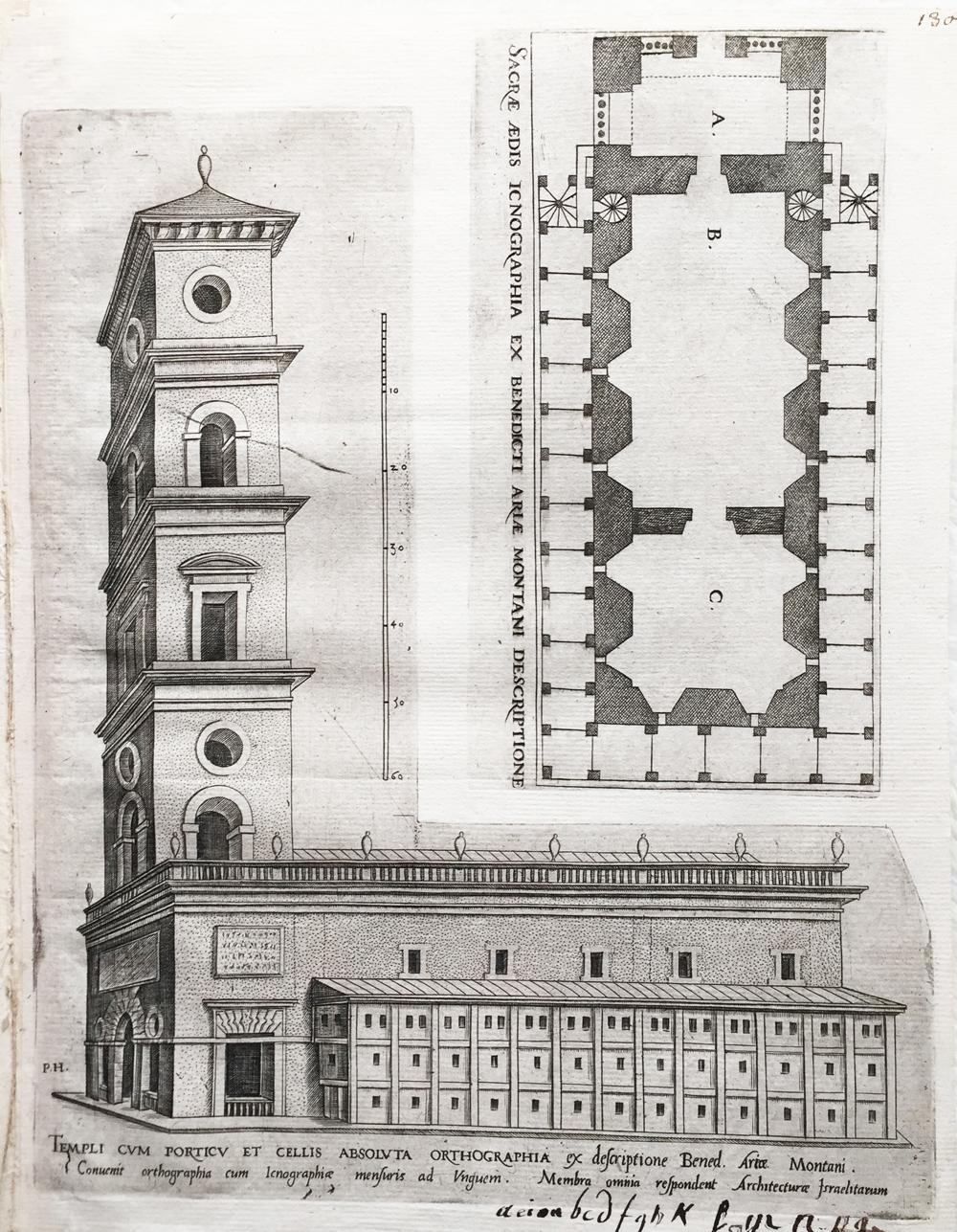 Sacrae aedis sciographiae pars. / Templi cum porticu et cellis absoluta orthographia (Accurate delineation of the Temple of Solomon)