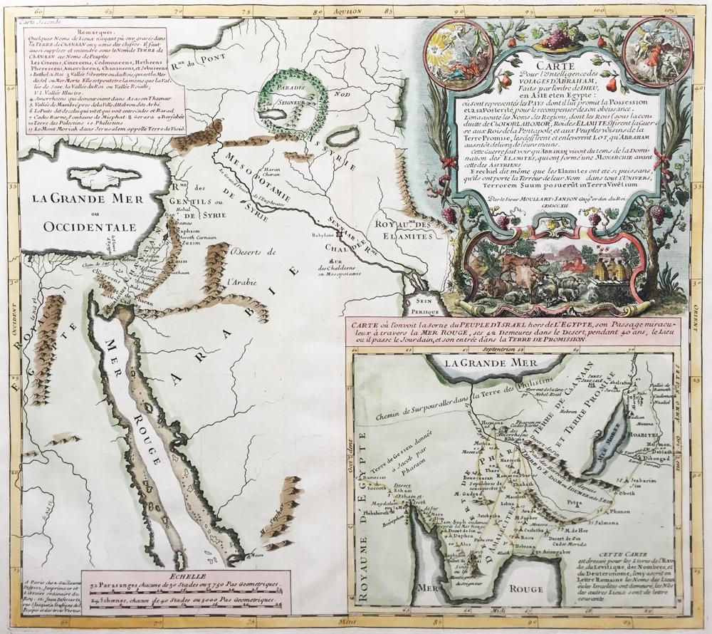 Carte pour l'Intelligence des Voiages d'Abraham, faits par l'Ordre de Dieu, en Asie et en Egypte