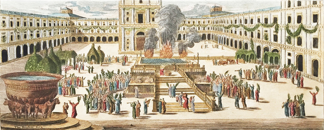 Sacrifice on Sukkot (Feast of the Tabernacle), in the First Holy Temple in Jerusalem