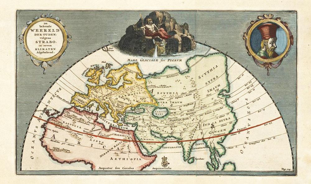 De bekende Weereld der Ouden volgens Strabo, in zeven Klimaten Afgebakend