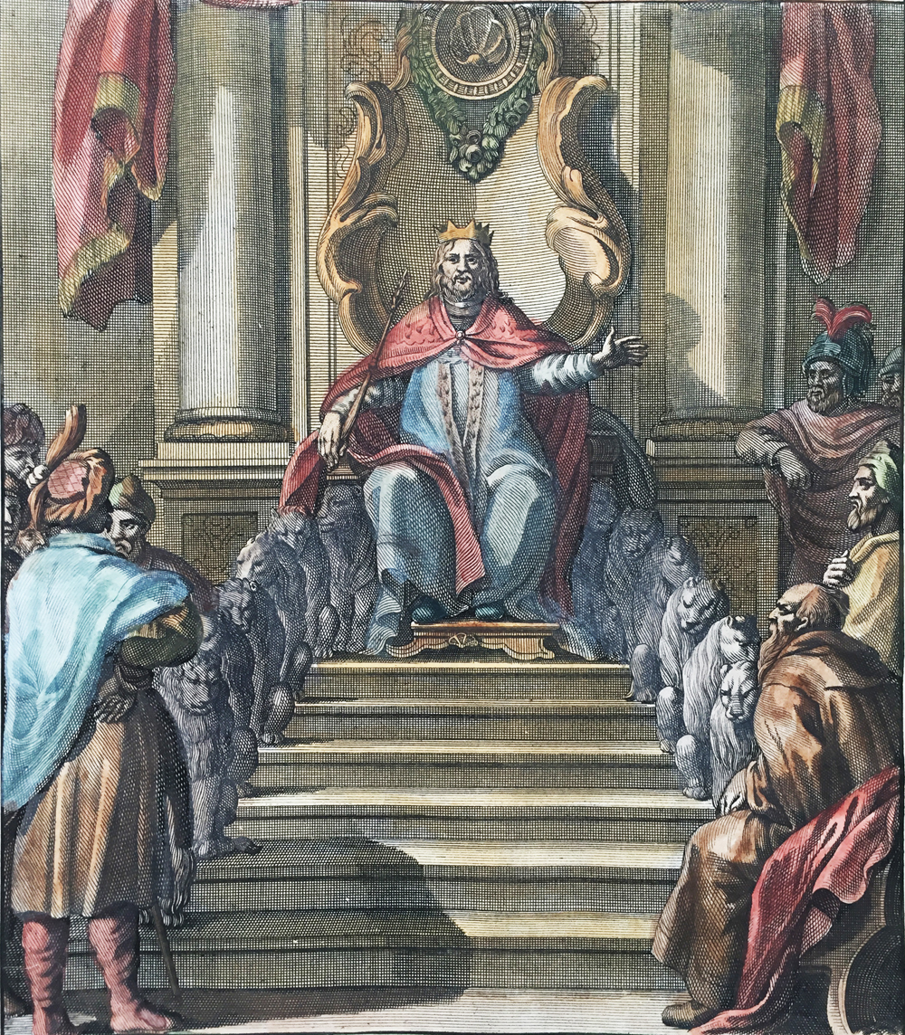 Solomon seated on his ivory throne