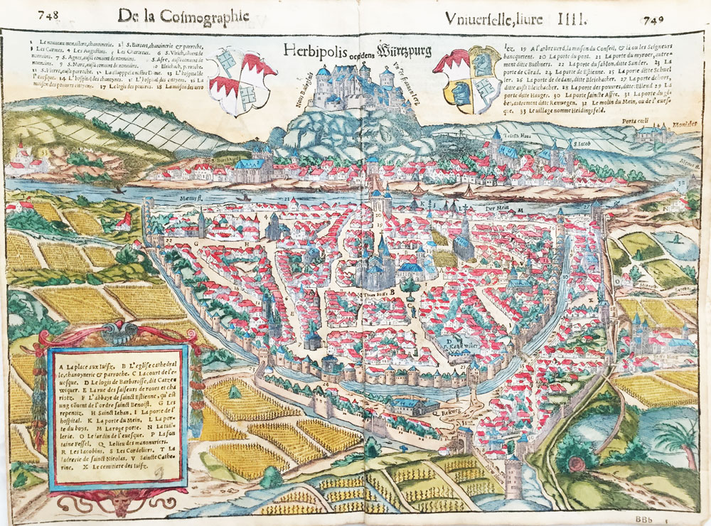 Map of Wurzburg, Germany – The Jewish Ghetto and Cemetery Shown