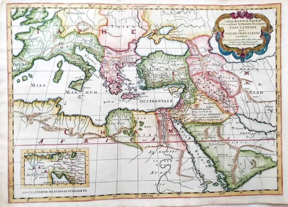 Geographiae Sacrae ex Veteri et Novo Testamento desumptae. Tabula prima : Quae totius orbis Patres continet